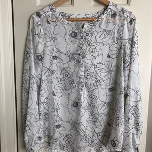 LOFT Semi Sheer Floral Print Pull Over Blouse